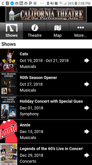 Cal Theatre Mobile Web