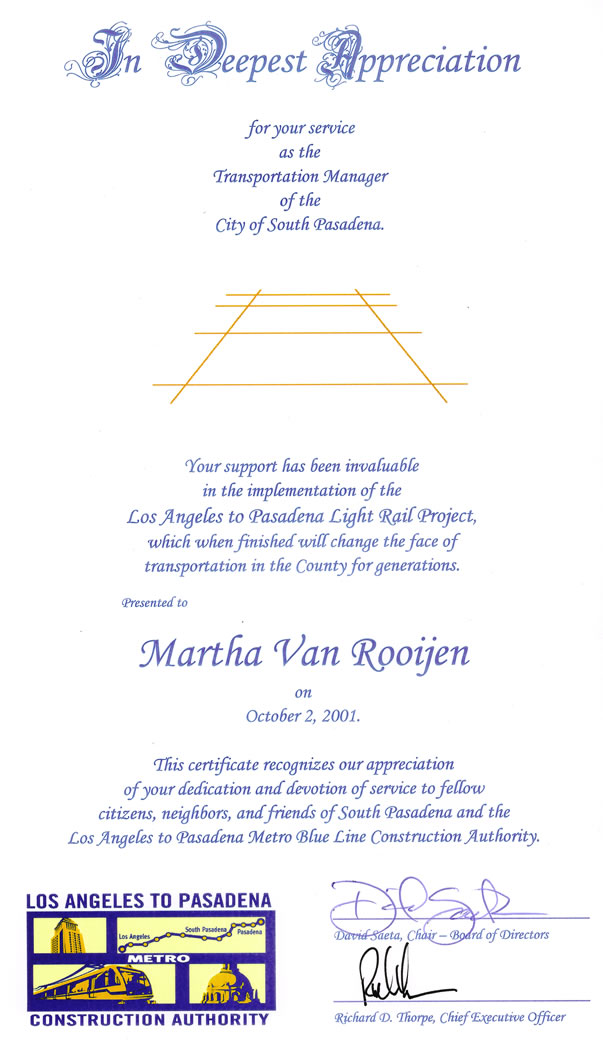 Certificate of Appreciation<br/>Gold Line Light Rail Construction Authority