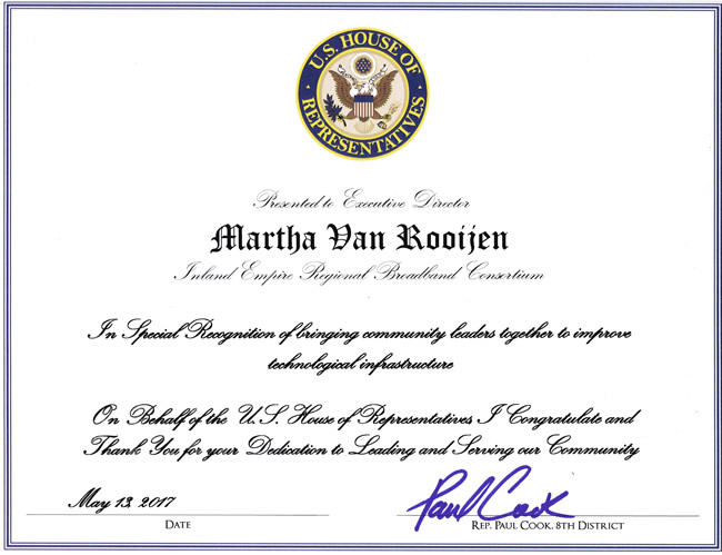 United States Congress Recognition<br/>Adelanto Technology Fair 5-13-2017