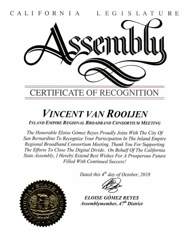 Assembly Member Reyes<br/>Certificate of Recognition